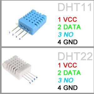 DHT11 e DHT22 schema PIN