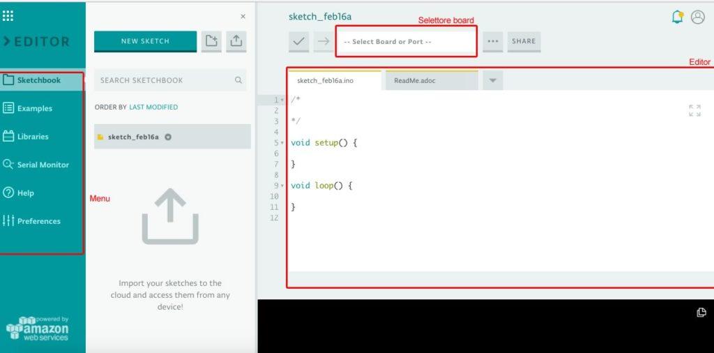 Arduino Web Editor - Interfaccia completa