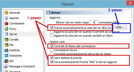 automaticamente la lista server emule