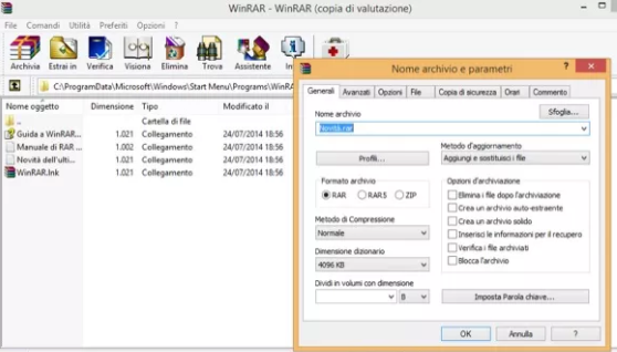 winrar download e utilizzo del software per comprimere file