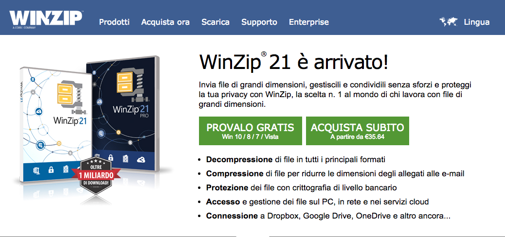 aprire un file zip con Win Zip