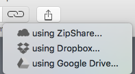 win zip per mac - opzioni di share