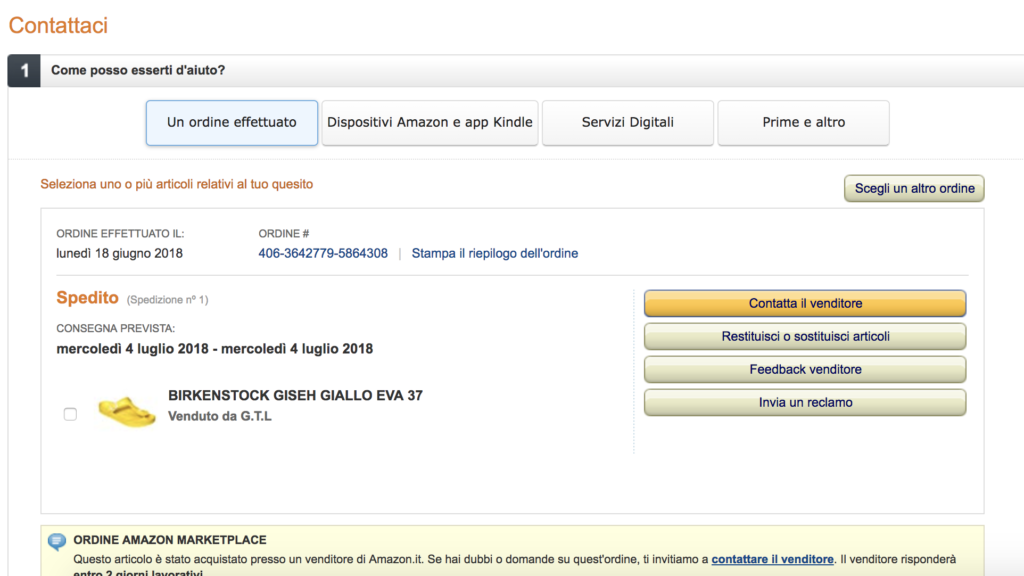 come contattare amazon - il form on line