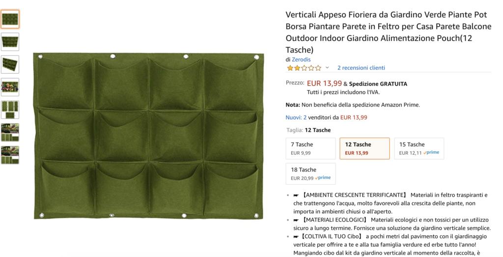 orto verticale - tasche di feltro in vendita su amazon