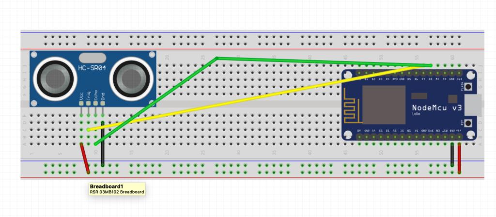 HC-SR04 - collegamenti fili con Nodemcu