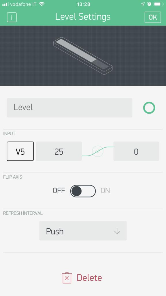 Level Setting - particolare set up su Blynk per integrazione con HC-SR04