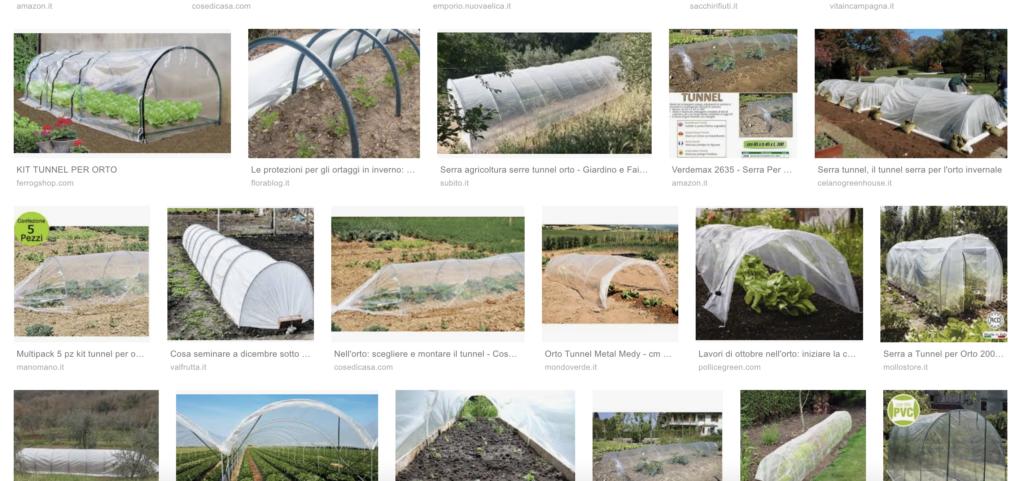pagina di ricerca di google con diversi esempi di tunnel per orto